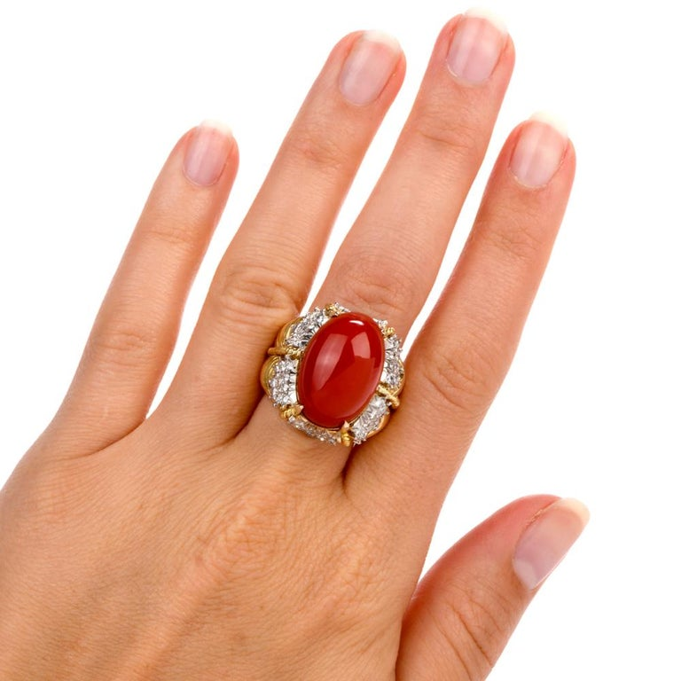 Vintage Hammerman Brothers Red Coral Diamond Yellow Gold Statement Ring In Excellent Condition In Miami, FL