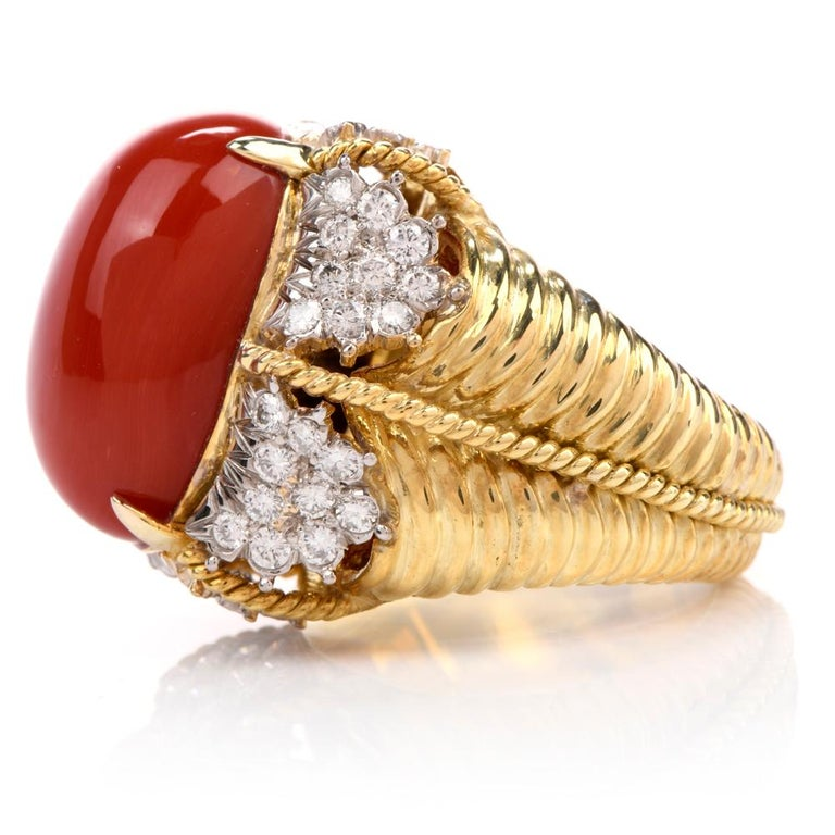 Women's or Men's Vintage Hammerman Brothers Red Coral Diamond Yellow Gold Statement Ring