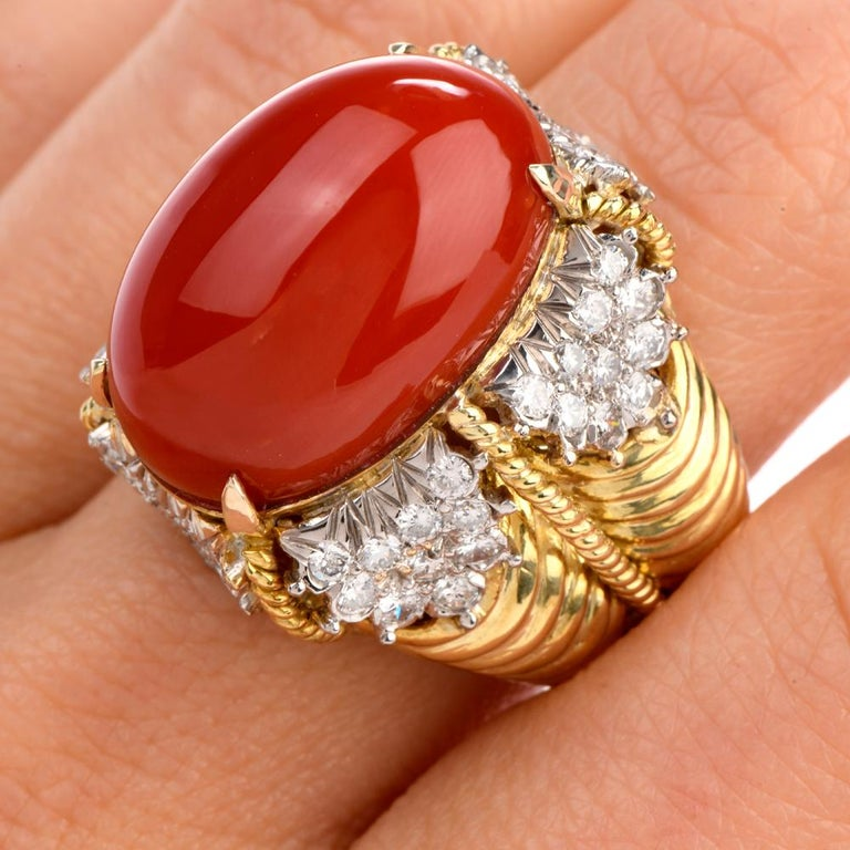 Vintage Hammerman Brothers Red Coral Diamond Yellow Gold Statement Ring 1