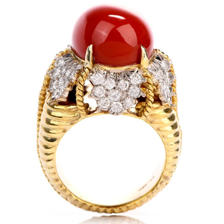 Vintage Hammerman Brothers Red Coral Diamond Yellow Gold Statement Ring 2