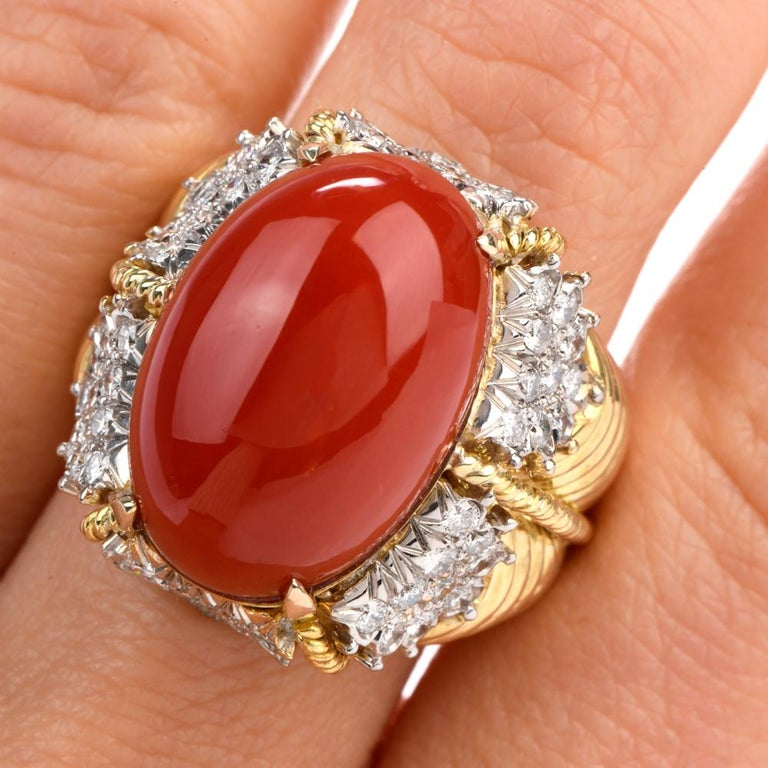 Vintage Hammerman Brothers Red Coral Diamond Yellow Gold Statement Ring 3