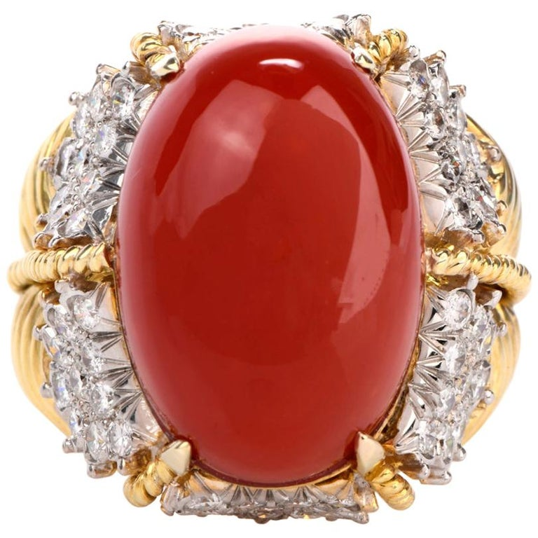 Vintage Hammerman Brothers Red Coral Diamond Yellow Gold Statement Ring
