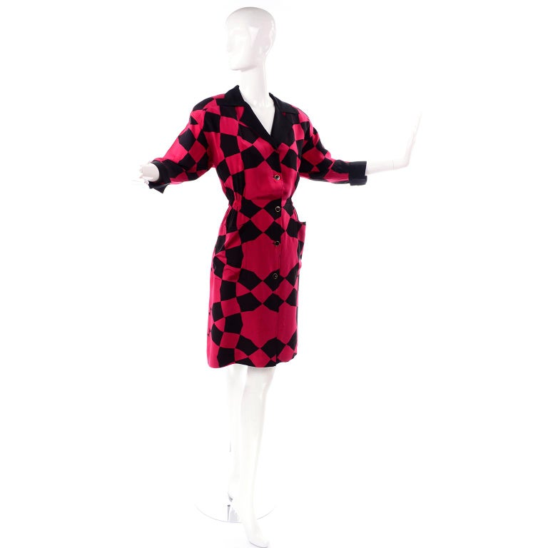 Women's Vintage Hanae Mori Red and Black Geometric Abstract Harlequin Print Silk Dress For Sale