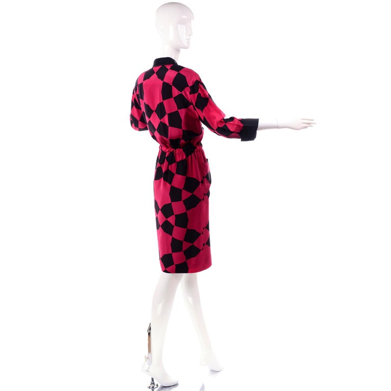 Vintage Hanae Mori Red and Black Geometric Abstract Harlequin Print Silk Dress For Sale 1