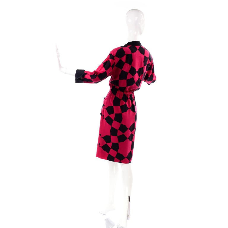 Vintage Hanae Mori Red and Black Geometric Abstract Harlequin Print Silk Dress For Sale 3