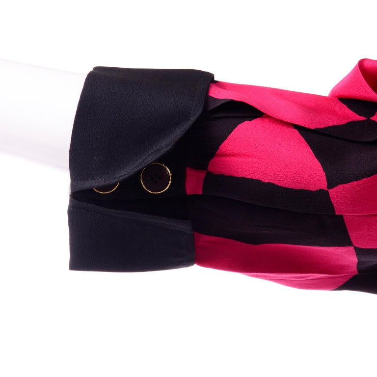 Vintage Hanae Mori Red and Black Geometric Abstract Harlequin Print Silk Dress For Sale 4