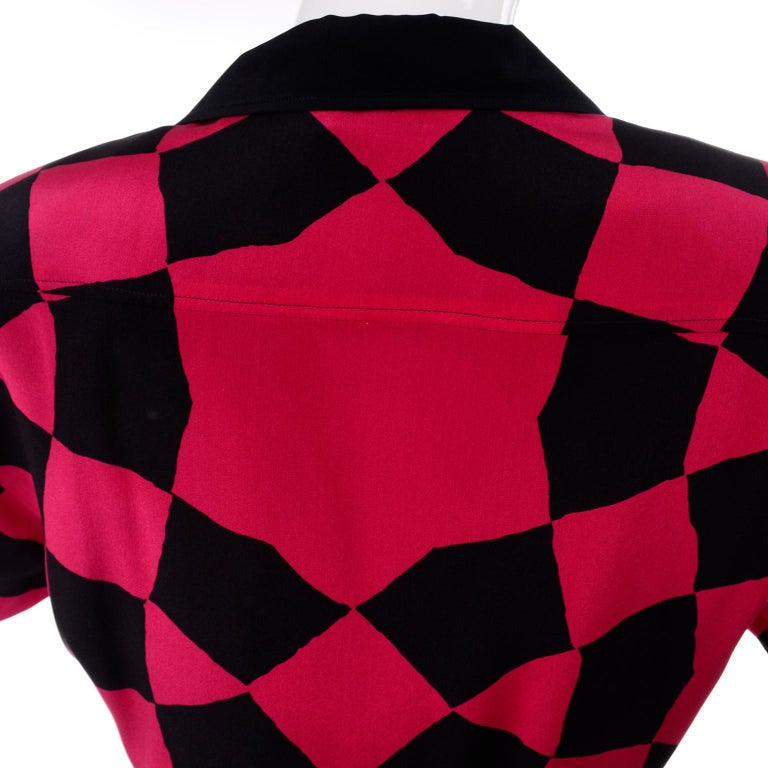 Vintage Hanae Mori Red and Black Geometric Abstract Harlequin Print Silk Dress For Sale 5