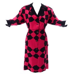 Vintage Hanae Mori Red and Black Geometric Abstract Harlequin Print Silk Dress