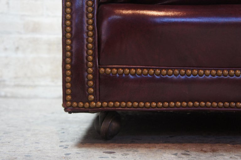Vintage Hancock & Moore Red Burgundy Leather Tufted Chesterfield Sofa Couch For Sale 7