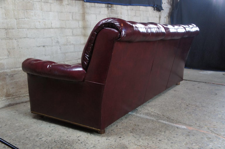 Vintage Hancock & Moore Red Burgundy Leather Tufted Chesterfield Sofa Couch For Sale 4