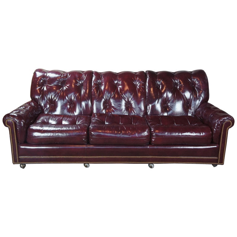 Vintage Hancock & Moore Red Burgundy Leather Tufted Chesterfield Sofa Couch For Sale