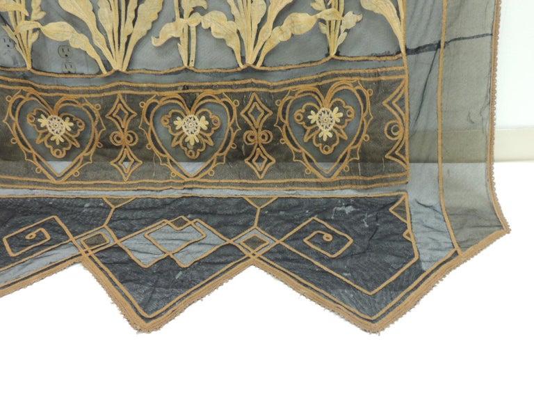 Vintage Hand Applique Floral Embroidery On Black Sheer