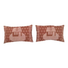 Vintage Hand Block Printed Folly Cove Designers 'Story and a Half House' Pillow