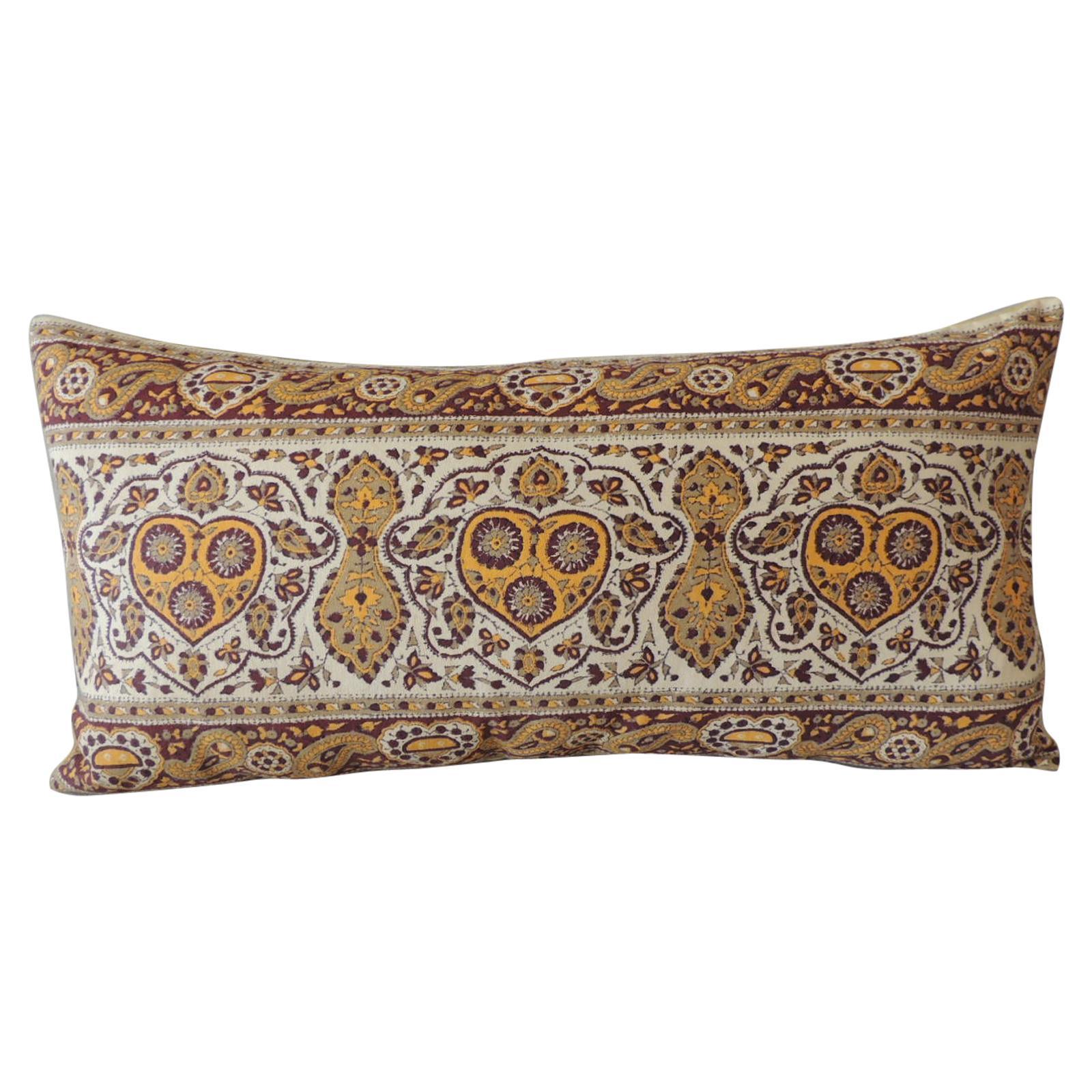 Vintage Hand-Blocked Kalamkari Long Bolster Decorative Pillow
