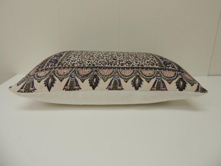 Moorish Vintage Hand-Blocked Kalamkari Lumbar Decorative Throw Pillow For Sale