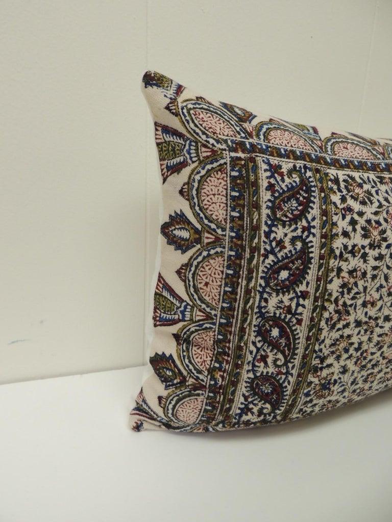 Turkish Vintage Hand-Blocked Kalamkari Lumbar Decorative Throw Pillow For Sale