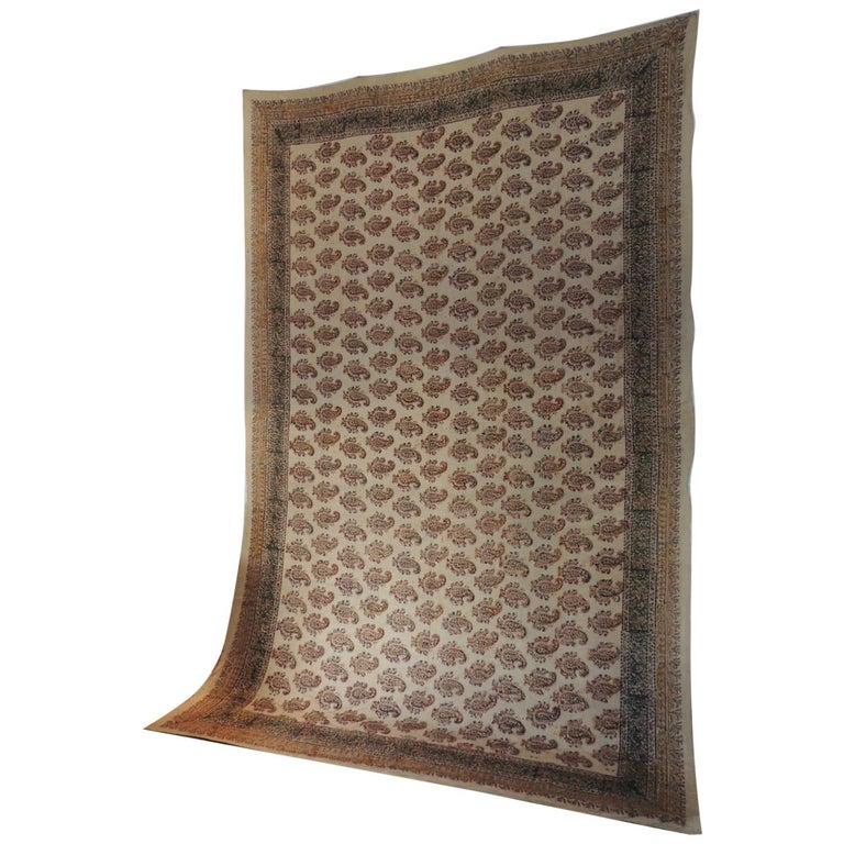 "Vintage Hand-Blocked Orange and Brown ""Kalamkari"" Cotton Paisley Coverlet/Cloth For Sale"