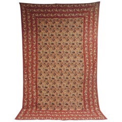 Vintage Hand-Blocked Red and Brown Cotton Paisley Coverlet/Cloth