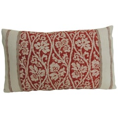 Vintage Hand-Blocked Red and Pink Lumbar Decorative Pillow