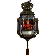 Vintage Hand Blown Glass Moroccan Light Fixture