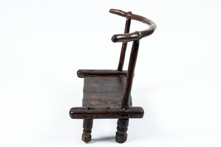 Wood Vintage Hand Carved African Baule Tribal Chair