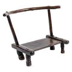 Vintage Hand Carved African Baule Tribal Chair