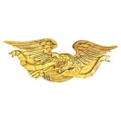 Vintage Hand-Carved and Gilded Bellamy Eagle with Ribbon