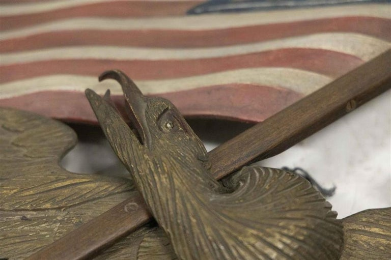 Hand-Carved Vintage Hand Carved and Painted Wooden Eagle with American Flag by George Strapf For Sale