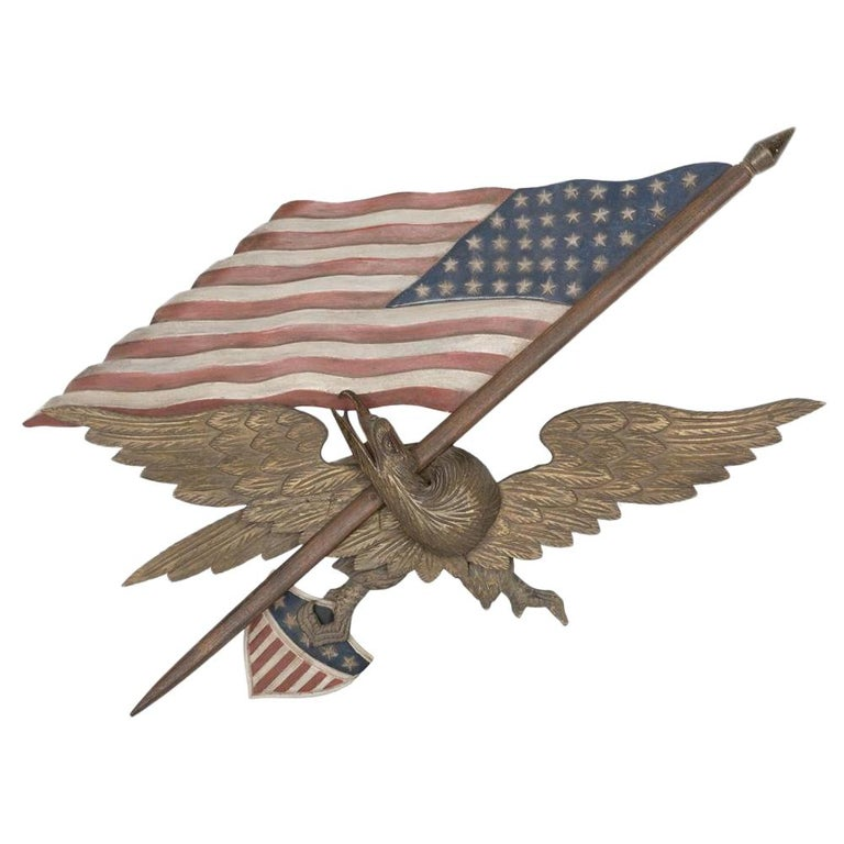 Vintage Hand Carved and Painted Wooden Eagle with American Flag by George Strapf For Sale