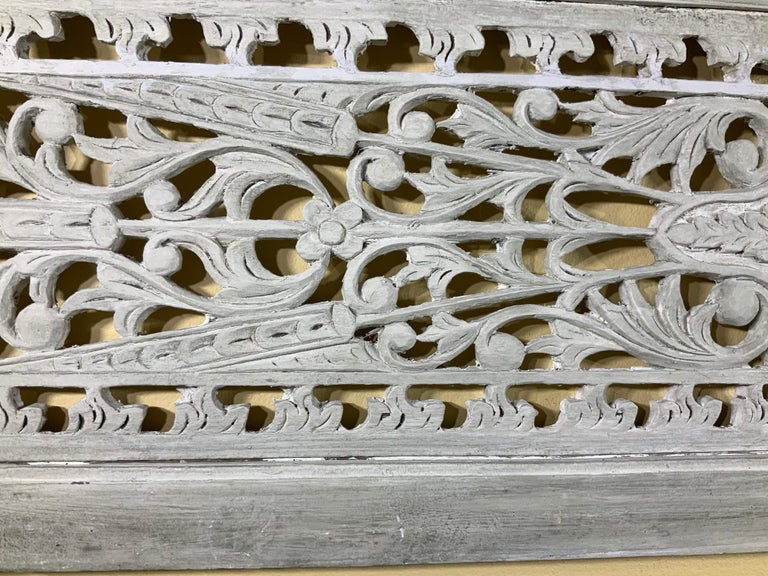 Vintage Hand Carved Architectural Wood Wall Hanging For Sale 4