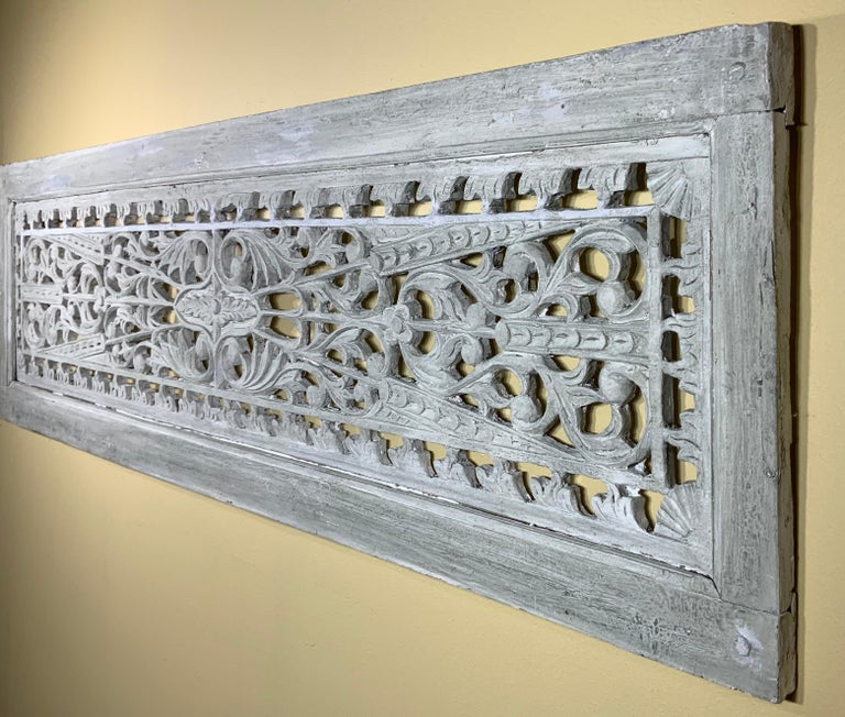Vintage Hand Carved Architectural Wood Wall Hanging For Sale 5