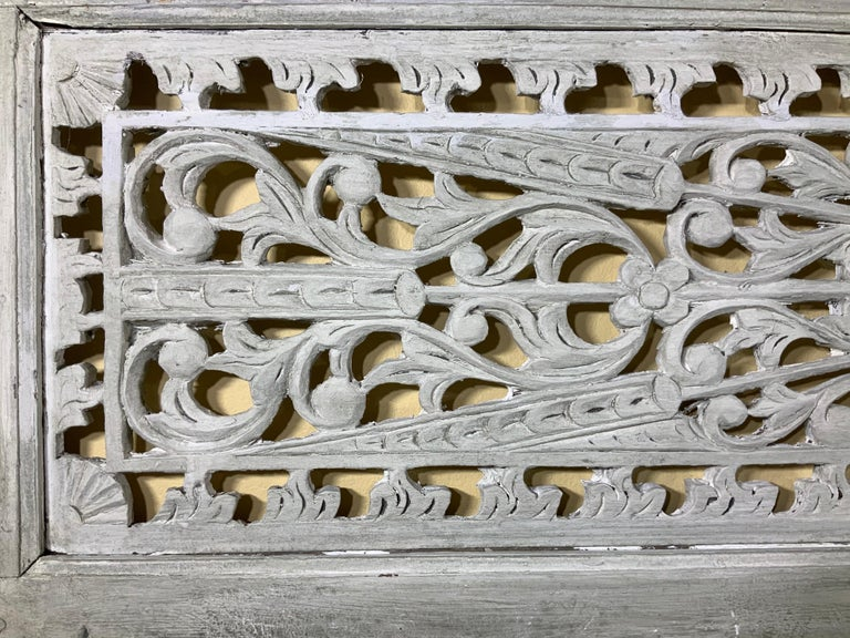 Vintage Hand Carved Architectural Wood Wall Hanging For Sale 6