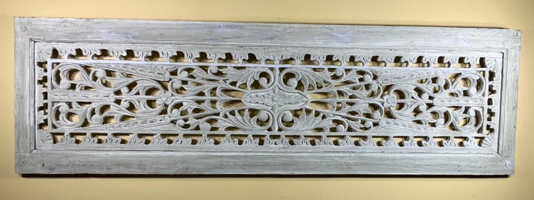 Vintage Hand Carved Architectural Wood Wall Hanging For Sale 7