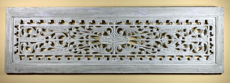 Vintage Hand Carved Architectural Wood Wall Hanging For Sale 8