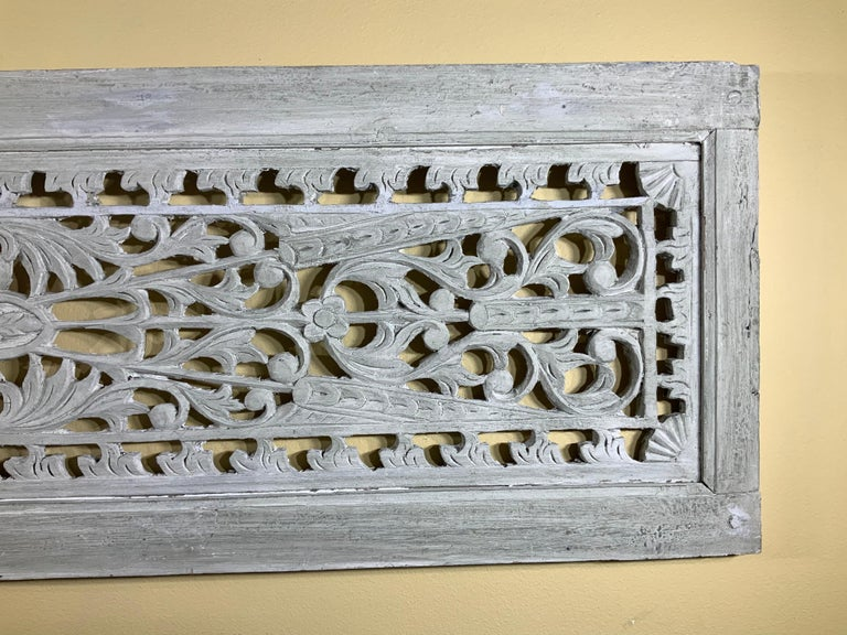 Hand-Carved Vintage Hand Carved Architectural Wood Wall Hanging For Sale