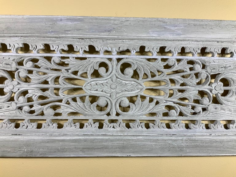 Vintage Hand Carved Architectural Wood Wall Hanging In Good Condition For Sale In Delray Beach, FL