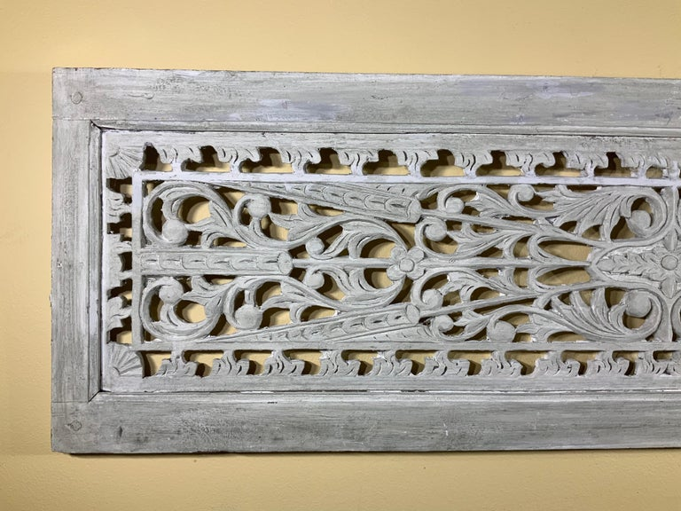 Mid-20th Century Vintage Hand Carved Architectural Wood Wall Hanging For Sale