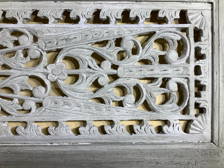 Vintage Hand Carved Architectural Wood Wall Hanging For Sale 1