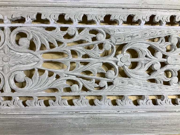 Vintage Hand Carved Architectural Wood Wall Hanging For Sale 2