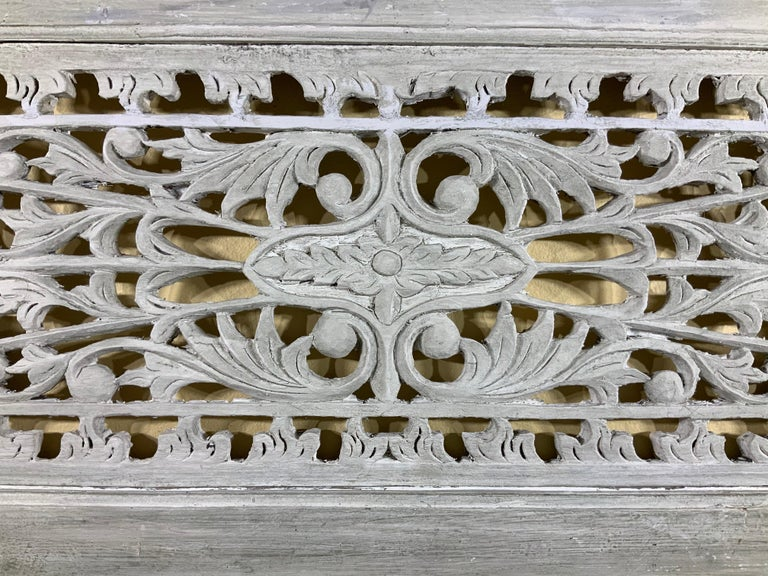 Vintage Hand Carved Architectural Wood Wall Hanging For Sale 3