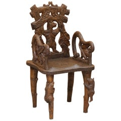 Vintage Hand Carved Black Forest Wood Bear Armchair with Bears Climbing the Legs