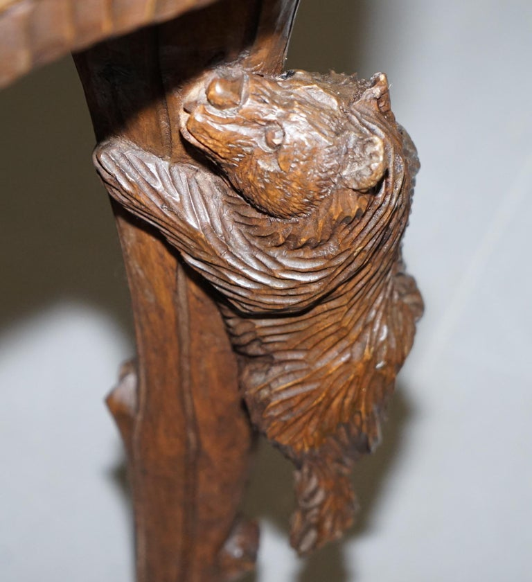 Vintage Hand Carved Black Forest Wood Bear Chair with Bears Climbing the Legs For Sale 4