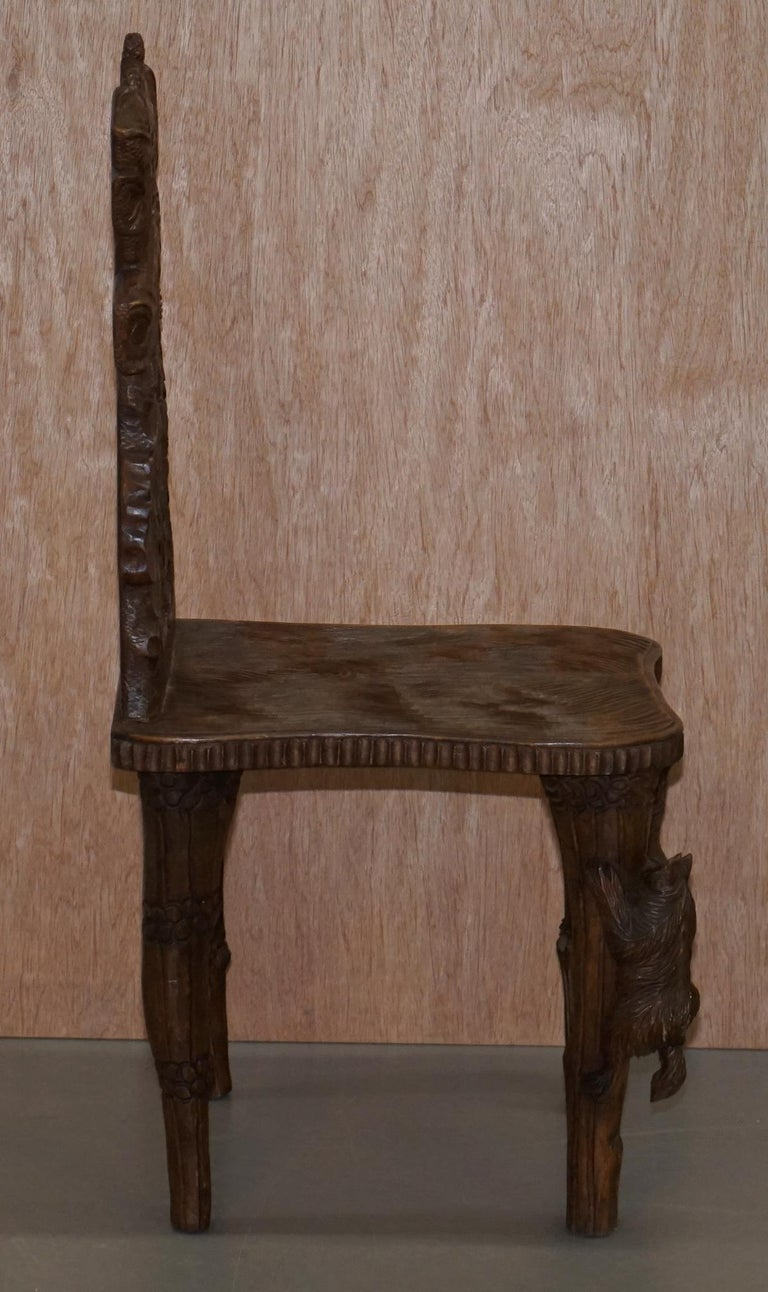 Vintage Hand Carved Black Forest Wood Bear Chair with Bears Climbing the Legs For Sale 5