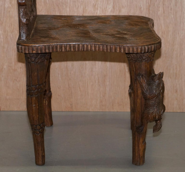 Vintage Hand Carved Black Forest Wood Bear Chair with Bears Climbing the Legs For Sale 6