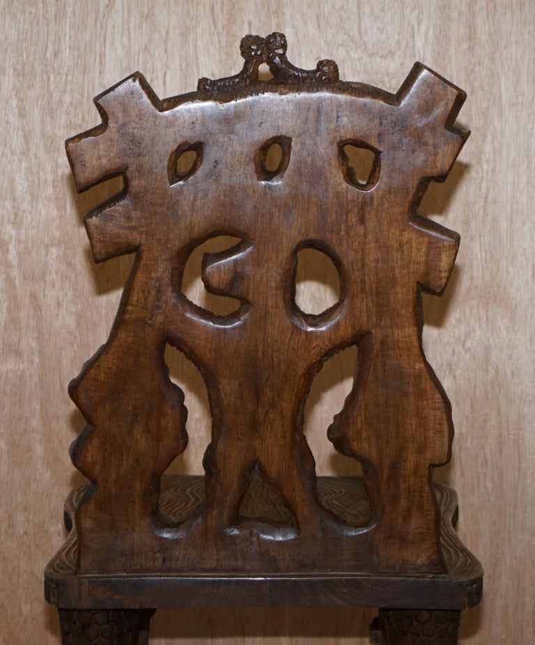 Vintage Hand Carved Black Forest Wood Bear Chair with Bears Climbing the Legs For Sale 8