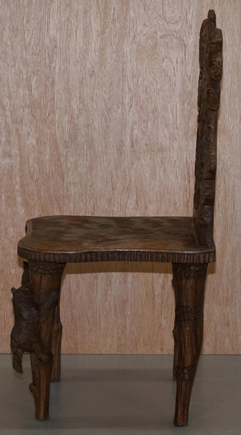 Vintage Hand Carved Black Forest Wood Bear Chair with Bears Climbing the Legs For Sale 9