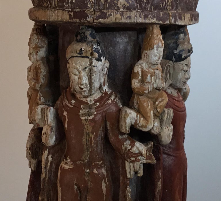 Vintage Hand Carved Cluster of Buddha Statue For Sale 4