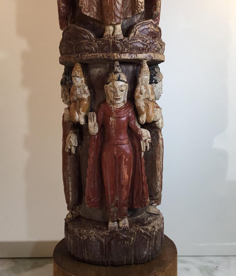 Vintage Hand Carved Cluster of Buddha Statue For Sale 7