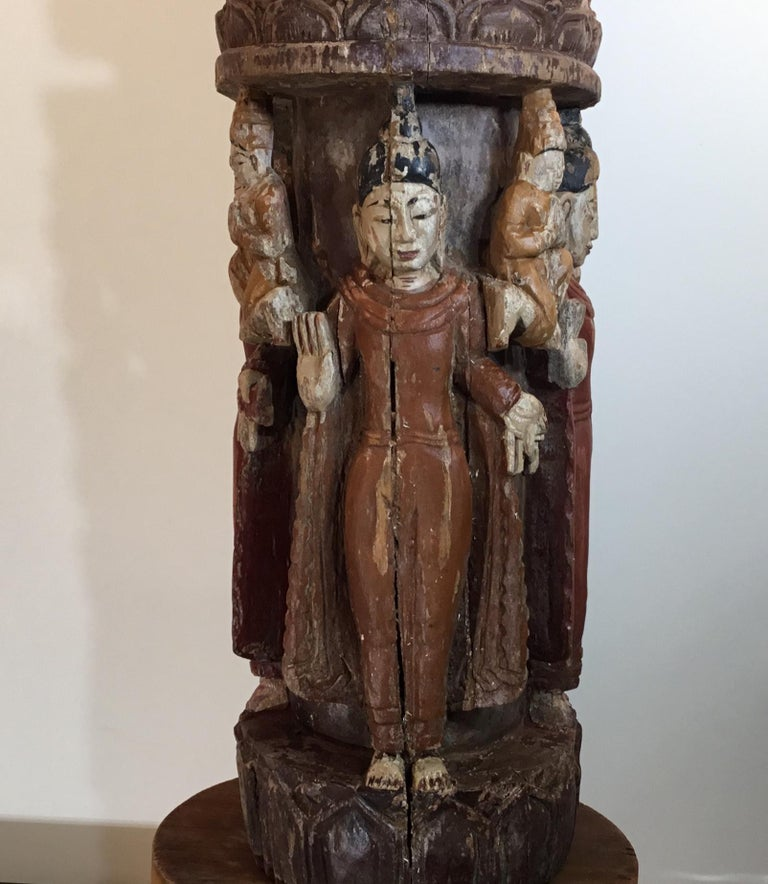 Vintage Hand Carved Cluster of Buddha Statue For Sale 12