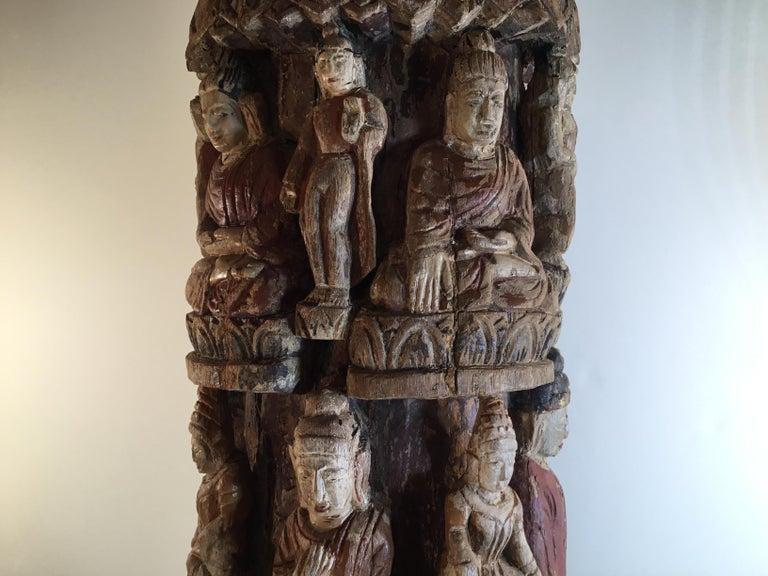 Mid-20th Century Vintage Hand Carved Cluster of Buddha Statue For Sale